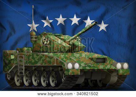 light tank apc with summer camouflage on the Kosovo flag background. 3d Illustration poster