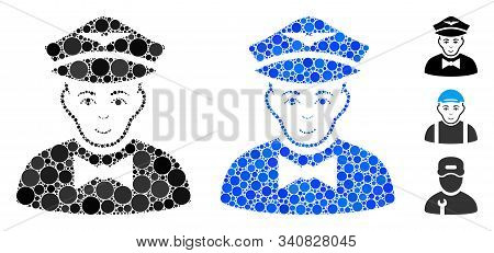 Airline Steward Mosaic Of Small Circles In Variable Sizes And Shades, Based On Airline Steward Icon.