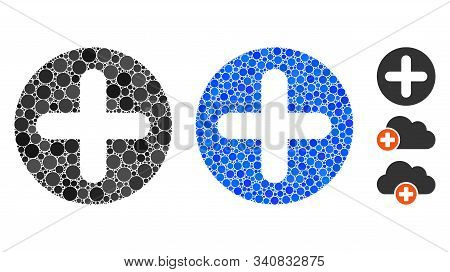 Create Composition Of Filled Circles In Various Sizes And Shades, Based On Create Icon. Vector Fille