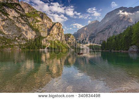 Lake Braies (also Known As Pragser Wildsee Or Lago Di Braies) In Dolomites Mountains, Sudtirol, Ital