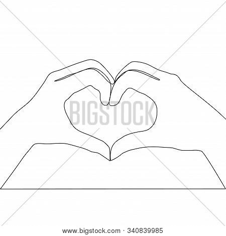 Two Hands Making Heart Sign Continuous Line Drawing, Social Help Service, Love And Volunteering, Han
