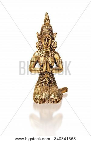 Bronze Figure Of Thai Fairy, A Traditional Thai Buddhist Character. Isolate On A White Background, C