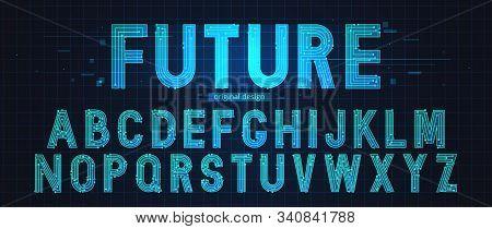 Technology Simple Type Tech Design. Vector Typeset Alphabet. Future Typeface Set. Geometric Modern F