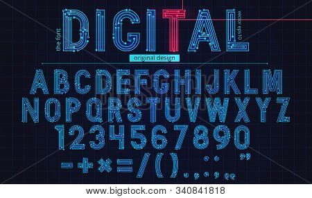 Technology Simple Type Tech Design. Vector Typeset Alphabet. Future Typeface Set. Geometric Modern F
