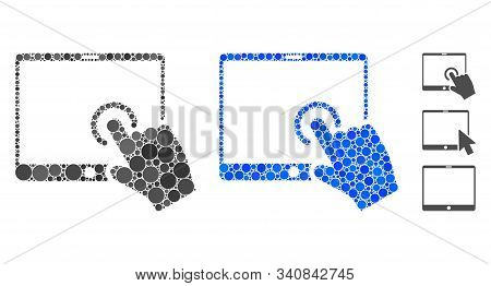 Hand Touch Pda Composition Of Round Dots In Various Sizes And Color Tints, Based On Hand Touch Pda I