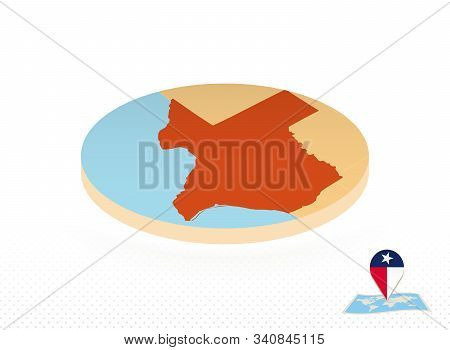 Texas State Map Designed In Isometric Style, Orange Circle Map Of Us State Texas For Web, Infographi