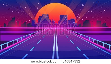 Night City Road. Futuristic Highway With Neon Lights And Buildings, City Of Future Urban Landscape.