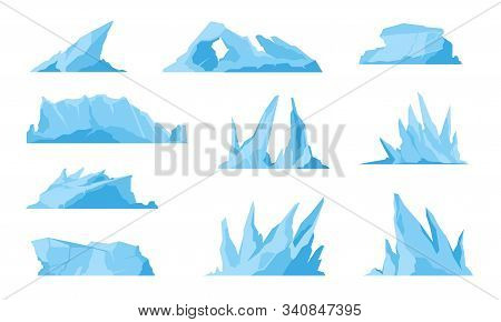 Glaciers. Icebergs, Ice Mountains And Compressed Snow, Freezing Ocean Landscape And Melting Sea Rock