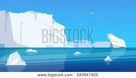 Arctic Landscape. Glaciers And Icebergs In Blue Frozen Ocean, Cartoon Ice Mountains And Melting Ice.