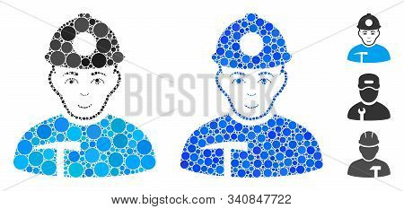 Miner Composition Of Round Dots In Various Sizes And Color Hues, Based On Miner Icon. Vector Round D