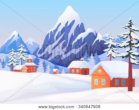 Winter Rural Landscape. Nature Scene With Snowy Mountain Peaks, Wooden Houses And Spruce Trees. Vect