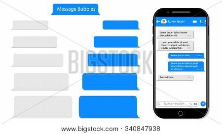 Message Speech Bubble For Text On Phone. Mockup Sms Chat, Conversation For Mobile. Smartphone Chatti