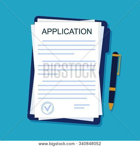 Application Form On Paper Sheet. Agreement Document In Flat Style. Legal Paperwork With Pen On Isola