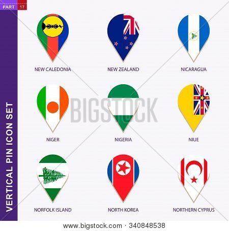 Vertical Pin Icon Set, 9 Country Flag: New Caledonia, New Zealand, Nicaragua, Niger, Nigeria, Niue,