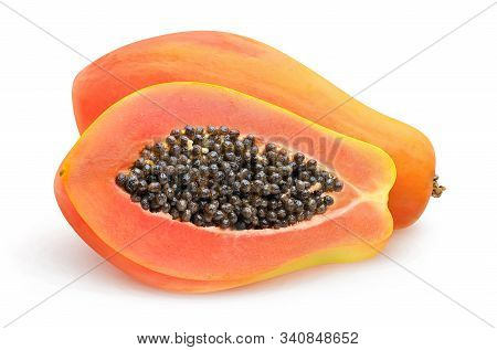 Isolated Papaya. Fresh Papaya Fruit Cut In Halves Isolated On White Background With Clipping Path