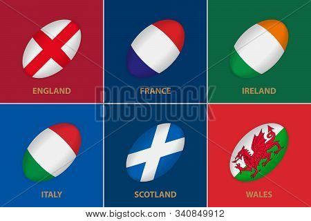6 Flags In The Style Of A Rugby Ball. Flag Of Rugby Championship Participants On Color Background.