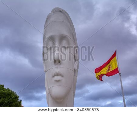 Madrid, Spain - November 30, 2019: Julia Sculpture By Jaume Plensa At Colon Square Sponsored By Cris