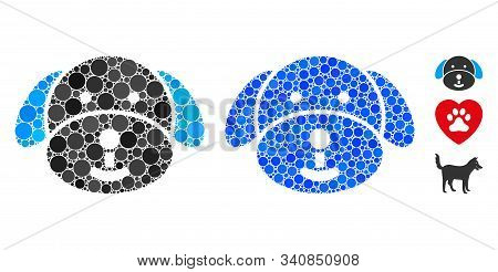 Puppy Mosaic Of Small Circles In Variable Sizes And Color Tones, Based On Puppy Icon. Vector Small C