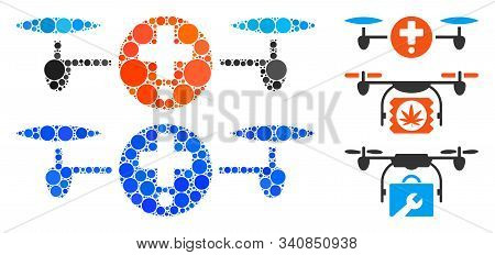 Quadcopter Pharmacy Composition Of Circle Elements In Various Sizes And Shades, Based On Quadcopter