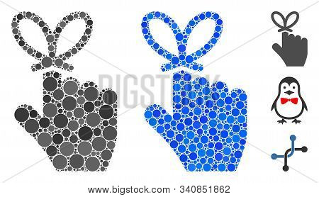 Remember Knot Mosaic Of Round Dots In Variable Sizes And Color Tinges, Based On Remember Knot Icon.