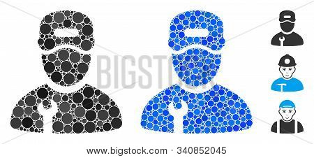 Repairman Mosaic Of Round Dots In Various Sizes And Color Tinges, Based On Repairman Icon. Vector Ro