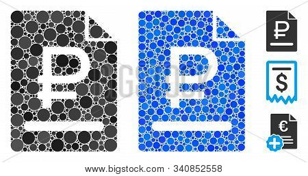 Rouble Bill Composition Of Round Dots In Various Sizes And Color Tints, Based On Rouble Bill Icon. V