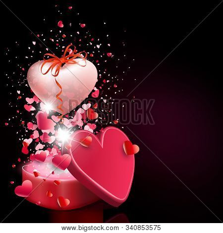 Black Illustration With A Red Casket And A Big Heart With A Bow And Ribbon