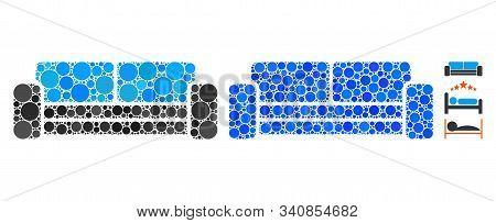 Sofa Mosaic Of Small Circles In Various Sizes And Shades, Based On Sofa Icon. Vector Small Circles A