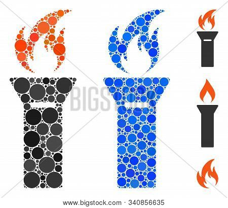Torch Flame Mosaic Of Round Dots In Different Sizes And Color Hues, Based On Torch Flame Icon. Vecto