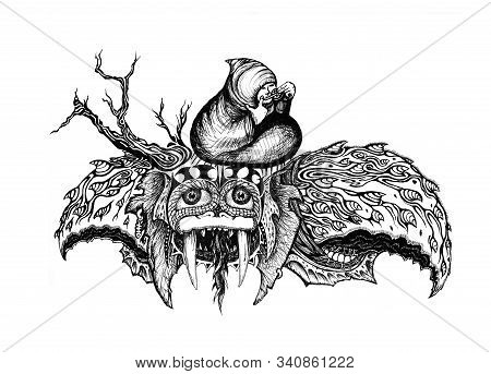 Fantastic Ink Drawing Of A Turtle Like Creature With Tusks And Kind Eyes, Flying With A Mongolian Ma