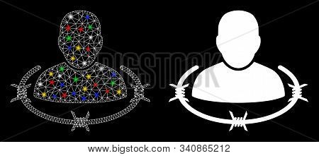 Glossy Mesh Captured Man Icon With Sparkle Effect. Abstract Illuminated Model Of Captured Man. Shiny