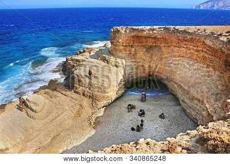 Ano Koufonisi Greece, August 27 2019: The Famous Gala Beach At Ano Koufonisi Island Greece - The Sea