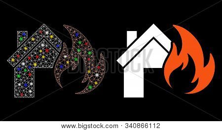 Flare Mesh Home Fire Disaster Icon With Sparkle Effect. Abstract Illuminated Model Of Home Fire Disa