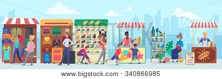 Street Clothing And Food Market Flat Vector Illustration. Cartoon Characters Buying Apparel And Acce