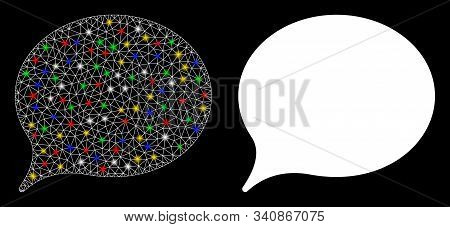 Flare Mesh Hint Balloon Icon With Sparkle Effect. Abstract Illuminated Model Of Hint Balloon. Shiny