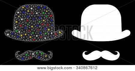 Glossy Mesh Gentleman Face Icon With Glitter Effect. Abstract Illuminated Model Of Gentleman Face. S