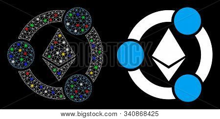 Glossy Mesh Ethereum Collaboration Icon With Glitter Effect. Abstract Illuminated Model Of Ethereum