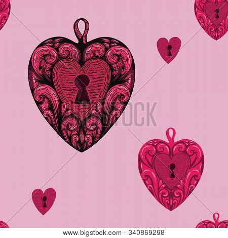 Pink Valentines Day Heart Angel In Vintage Etching Handdrawn Tatoo Style On White Background. Cartoo