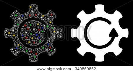 Glowing Mesh Cog Rotation Direction Icon With Lightspot Effect. Abstract Illuminated Model Of Cog Ro