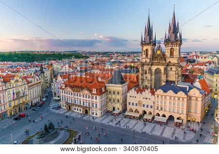 Top Aerial View Of Prague Old Town Square (stare Mesto) Historical City Centre. Former Market Square