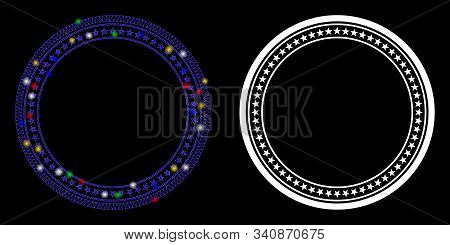 Glowing Mesh Double Circular Star Frame Icon With Glow Effect. Abstract Illuminated Model Of Double