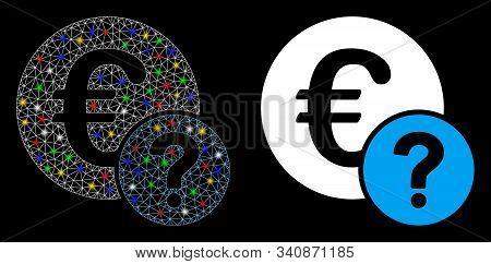 Glowing Mesh Euro Status Icon With Glare Effect. Abstract Illuminated Model Of Euro Status. Shiny Wi