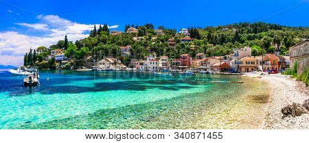 Authentic tranquil Paxos island. Loggos fishing village. Ionian islands of Greece