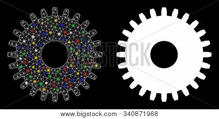 Glossy Mesh Cogwheel Icon With Glitter Effect. Abstract Illuminated Model Of Cogwheel. Shiny Wire Ca