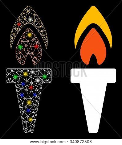 Glowing Mesh Torch Icon With Lightspot Effect. Abstract Illuminated Model Of Torch. Shiny Wire Carca