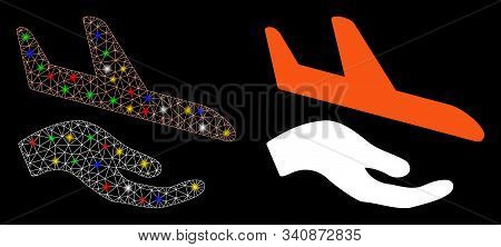 Glowing Mesh Aviation Support Hand Icon With Glow Effect. Abstract Illuminated Model Of Aviation Sup