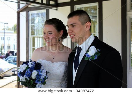 Ecstatic young married couple