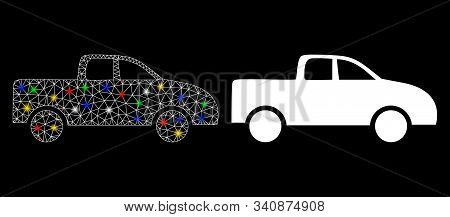 Flare Mesh Pickup Car Icon With Lightspot Effect. Abstract Illuminated Model Of Pickup Car. Shiny Wi