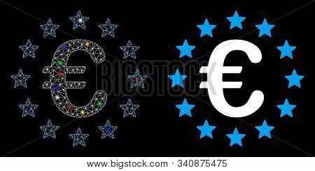 Flare Mesh European Union Icon With Lightspot Effect. Abstract Illuminated Model Of European Union.