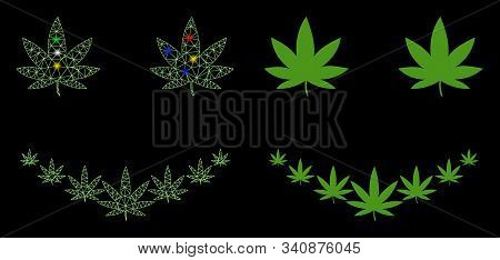 Glossy Mesh Marihuana Smile Icon With Glow Effect. Abstract Illuminated Model Of Marihuana Smile. Sh